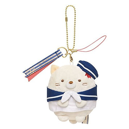 San-X Corner Gurashi Hanging Stuffed Plush Toy Marine SHY CAT - Beige MR17601 by San-X