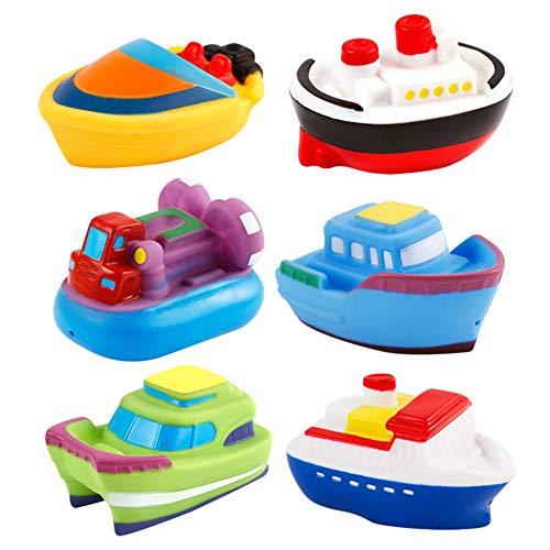 shengyuze Baby Toys Baby Bath Toys 2Pcs Baby Marine Animals Vehicle Model Floating Squirt Squeeze Bathtime Fun Toy - Random Color 2pcs Transportation