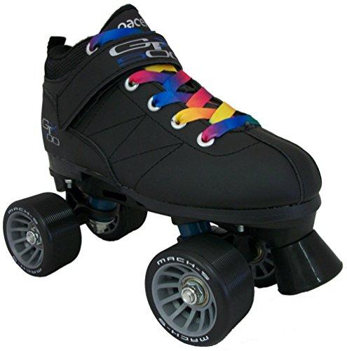 Black Pacer Mach-5 GTX500 Quad Speed Roller Skates w 2 Pair of Laces Rainbow Black