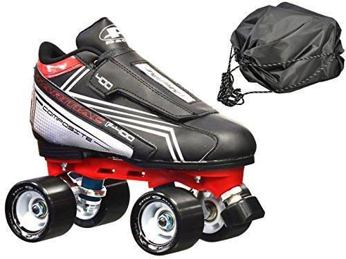New Pacer Tarmac F-400 Quad Roller Speed Skates w FREE Drawstring bag Mens 10