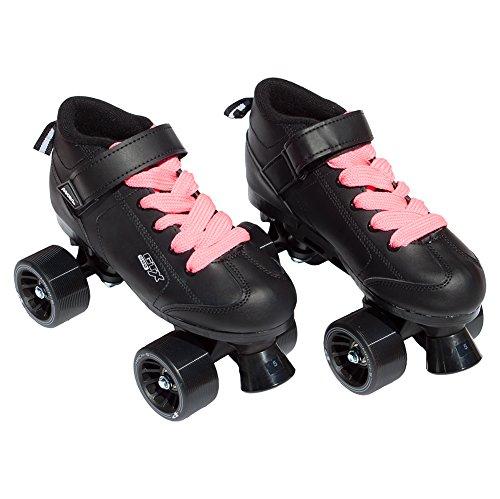 Pacer Mach-5 Black Pink Speed Skates - Mach5 GTX500 Quad Roller SkatesMens 6  Ladies 7