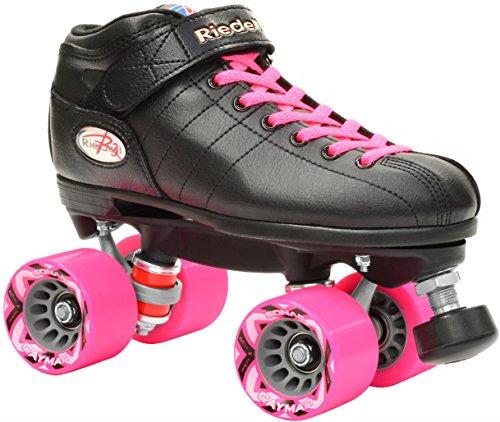 Riedell R3 2016 Black Pink Quad Roller Derby Speed Skates w 2 Pair of Laces Pink Black Mens 7  Ladies 8