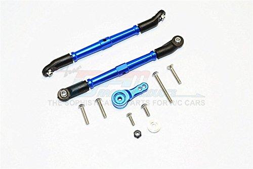 Axial SCX10 II Upgrade Parts AX90046 AX90047 Aluminum Adjustable Steering Links Servo Rod With 25T Servo Horn - 3Pcs Set Blue