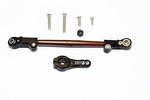 Axial SCX10 II Upgrade Parts AX90046 AX90047 Spring Steel Adjustable Servo Rod With Aluminium Ends 25T Servo Horn - 2Pcs Set Black