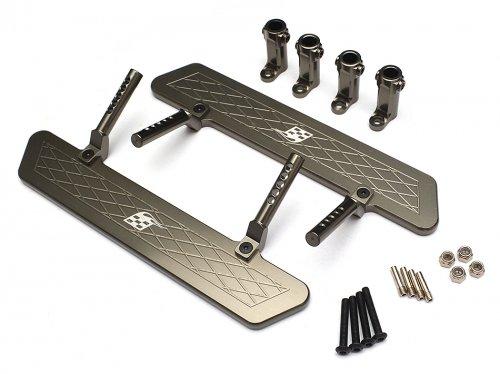 Boom Racing BR233012GM Aluminum Rock Rails Set - 1 Set Gun Metal for Axial SCX10
