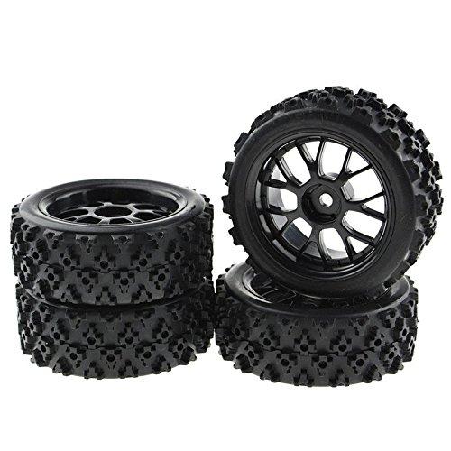 4PCS Black 110 Scale RC Tires Wheel Rims Crossing Rubber Off-Road Parts
