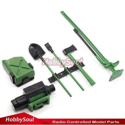 hobbysoul 110 RC Rock Crawler Accessory Tool Set Axes Digging Shovel Oil Tank High Jack Winch Pry Bar