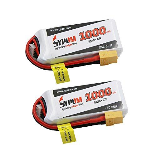 SYPOM 1000mAh Lipo Battery Pack 111V 25C 3S Lipo Battery XT60 for FPV Racing - 2Packs