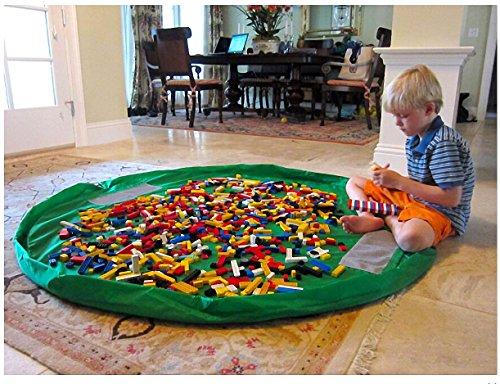 Pawliss Children Play Mat Toy Storage Bag Kids Rug Child Toy Organizer for Lego 60 inch Green