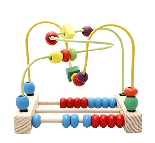 Lewo Wooden First Beads Maze Roller Coaster Circle Toddler Toys Games