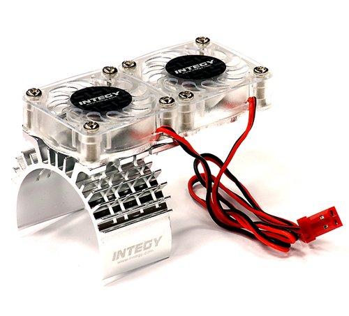 Integy RC Hobby T8534SILVER Motor Heatsink  Twin Cooling Fan for Traxxas 110 Slash 4X4 6808
