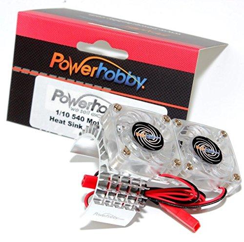 Powerhobby Aluminum Motor Heatsink Twin Dual Cooling Fan Traxxas Slash 4x4 Silver