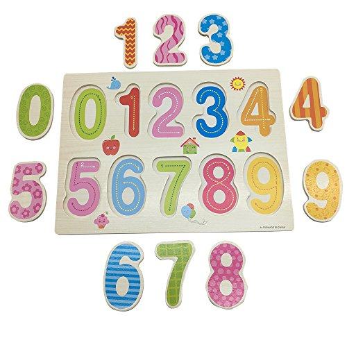 Mziart See-Inside Cartoon Numbers 0-9 Wooden Peg Puzzle Board for Kids Preschool Toy 10 pcs