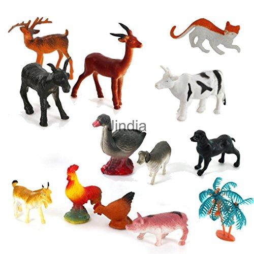 Sangdo 15pcs Plastic PVC Farm Animal Tree Model Figure Set Kids Preschool Toys Gift