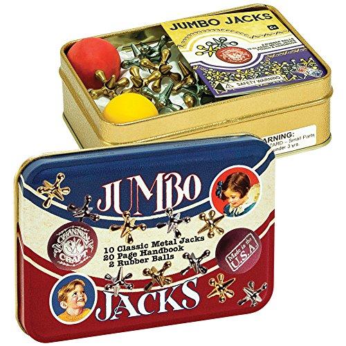 Jumbo Jacks Retro Toy - 10 Classic Metal Jacks 2 Balls In Collectible Tin