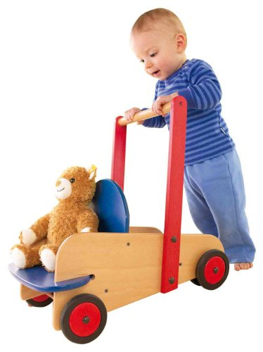 HABA Walker Wagon - First Wooden Push Toy with Seat Storage for 10 Months and Up Made in Germany
