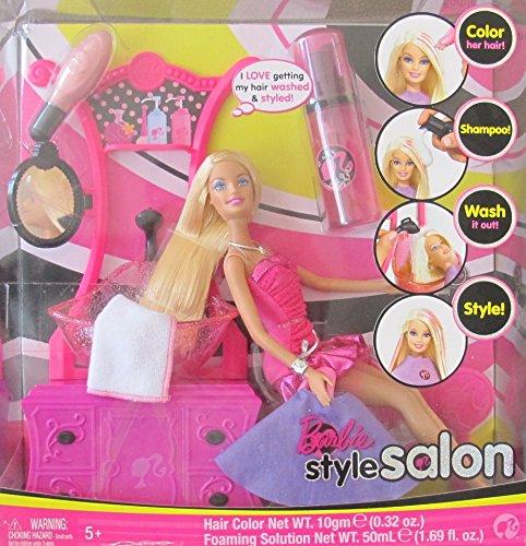 BARBIE Hair STYLE SALON Playset w BARBIE DOLL SINK w Working SPRAYER COMMODE w Mirror More 2008