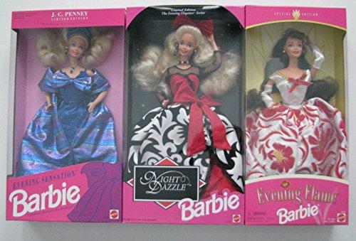 Vintage Barbies Set of 3 - Night Dazzle Barbie Evening Sensation Barbie and Evening Flame Barbie