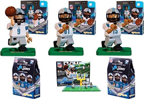 Oyo Sports - NFL Bundle Pack - Detroit Lions Set 1 Matt Stafford Calvin Johnson Golden Tate Lions End Zone Set - plus Two FREE Blind Packs