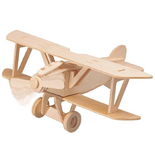 Smilelove 3D Wooden Puzzle Albatros DV Bi-Plane Airplane Model Kit- Toddler Child and Kids wooden Toys