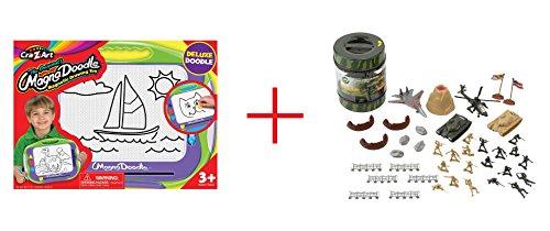 Cra-Z-Art Magna Doodle Deluxe Doodler and True Heroes Army Playset in Bucket - Bundle