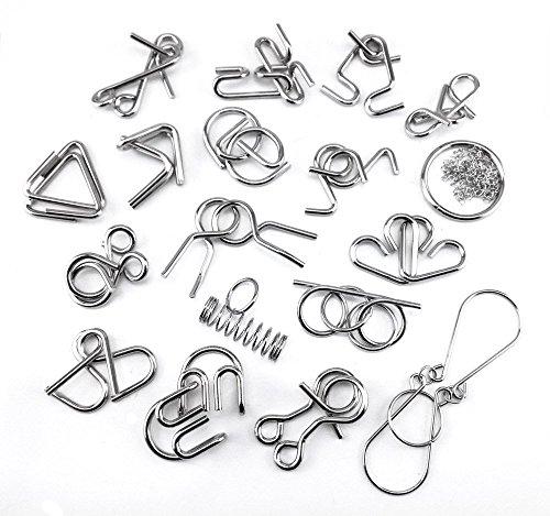 Honbay 18pcs Set Metal IQ Test Mind Game Toys Brain Teaser Metal Wire Puzzles Magic Trick Toy