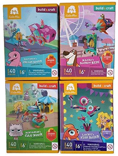 GoldieBlox Build Craft Bundle of 4 Construction Toy Kits Benjamins Cat Nook Nachos Rocket Ride Katinkas Dream Racer and Luckys High Roller