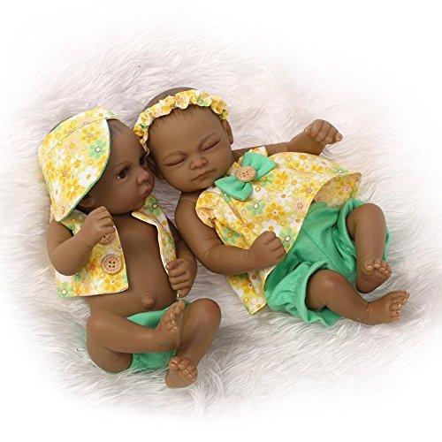 Nicery Reborn Baby Bathe Doll Indian Style Black Skin Hard Simulation Silicone Vinyl 10inch 26cm Waterproof Toy Yellow Boy Girl