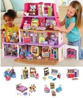 Loving Family Dollhouse Super Bonus Set - 6 Rooms of Furniture Included Caucasian Family
