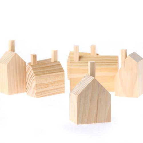 Natural Unfinished Wood Toy Block Wooden Houses 7 Piece Set - Montessori Toy - Toddler Little Boy or Girl Gift
