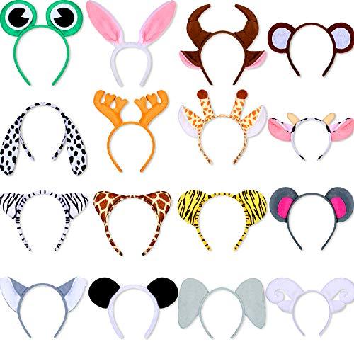 16 Piece Animal Jungle Safari Headbands Zoo Cartoon Plush Animal Ear Hairbands Costume Set Animal Hair Hoop for Kid Halloween Christmas Animal Cosplay Birthday Theme Party Supply Stage Performance