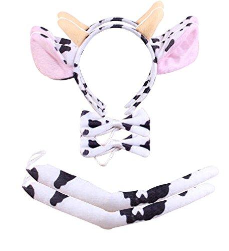 BabyPreg Kids Dalmatian Headband Fancy Mouse Tiger Animals Cosplay Halloween Costume Milk Cow 2Pack Small