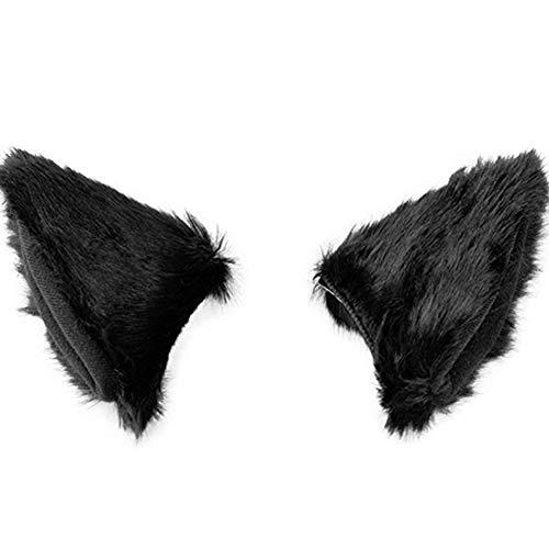 Cat Fox Fur Ears Hair Clip Headwear Anime Cosplay Halloween Costume Hair Clip Anime BlackBlack