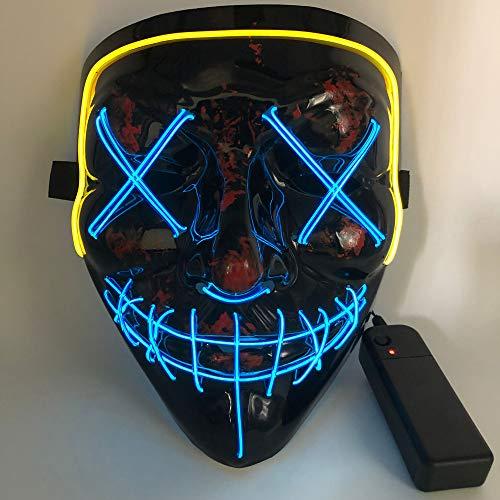 Halloween Mask EL Mask 2 Color Mask LED Light Mask Christmas Mask for Festival Cosplay Halloween CostumeBlueYellow
