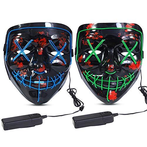 Halloween Scary Mask LED Mask LED Purge Mask 2PACK LED Light Up Mask EL Wire Light Up for Festival Cosplay Halloween Costume Halloween Festival Party Green Blue