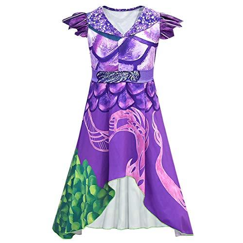 Wenge Descendants 3 Dragon Mal Costume for Girls Audrey Halloween Costume Kids Halloween Cosplay 140CM9-10T Purple
