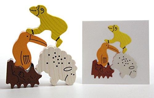 Stacking Wooden Animal Blocks - Pattern Matching Childrens learning toy - Montessori Preschool Kindergarten toy