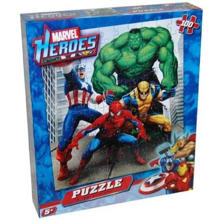 Marvel Heroes 100 Piece Puzzle - Spiderman Hulk Wolverine and Capt America