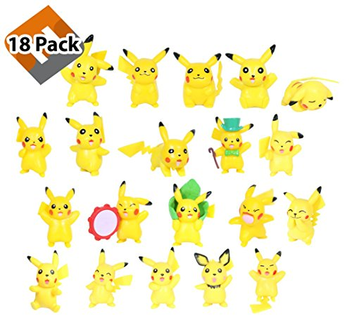 18 Pokemon Pikachu Toy Action Figures with Bonus Pokemon Ball