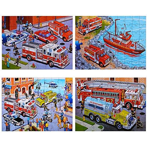 Acefun Emergency Vehicles Floor Puzzles Super Puzzle Set Set of 4 Puzzles
