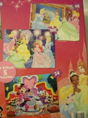Disney Princess Fairies and Minnie Mouse Bow-tique Super 3D Five Puzzle Pack