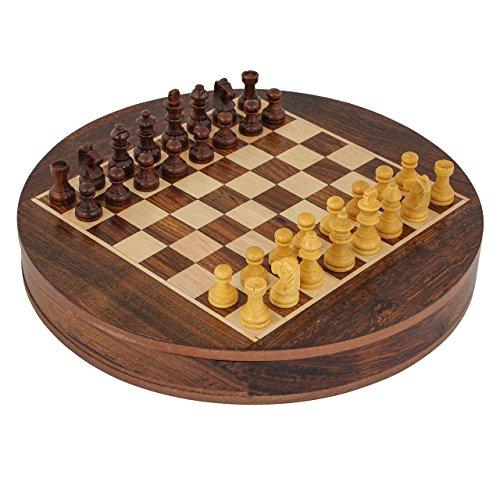Craft Art India Round Wooden Indoor  Outdoor Game Chess Set With Storage diameter - 9 Inches