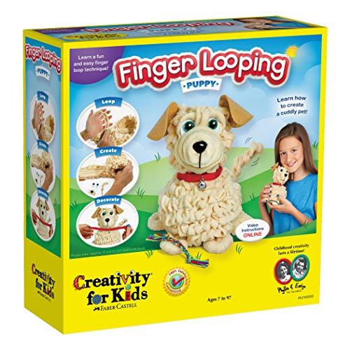 Creativity for Kids Finger Looping Puppy - Beginner Finger Knitting for Kids - Makes 1 Soft Puppy Toy
