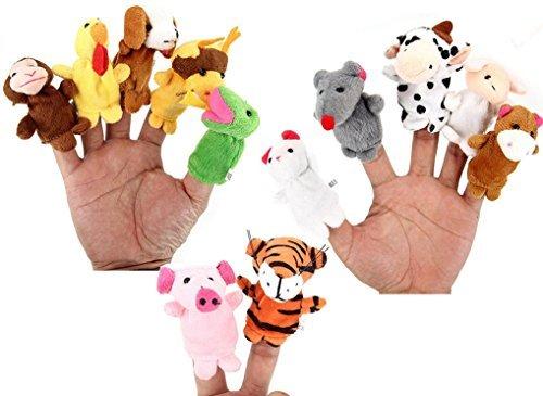 FunsLane 12 Pcs Small Soft Animal Finger Puppets Set for Children Story Time