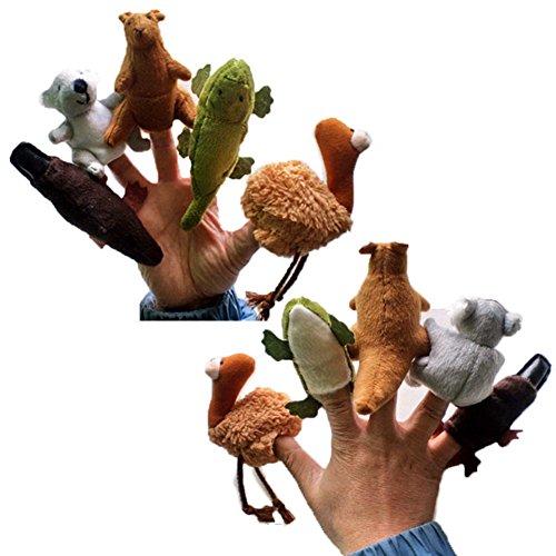 Lanlan 5Pcs Soft Assorted Australian Animal Finger Puppets For Children Story Time Platypus Kangaroo Koala Crocodile