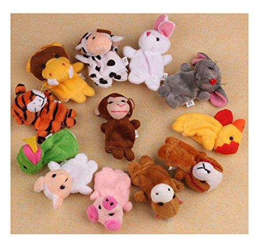 Usstore Kid Baby 12Pcs Chinese Zodiac Soft Animal Puppet Finger Toys PLush Toy Gift