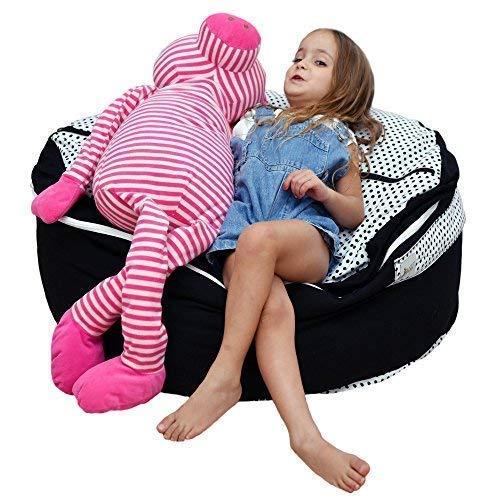 2 Sizes in 1 Large Bean bag Stuffed Animal Storage  XL Jumbo Ottoman for Soft Toys Plush Toys  Giant Pouf Organizer for Linens Quilts Pillows  300 L  80 Gal  42  Black White