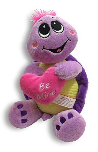 Tino Val Purple Turtle Stuffed Animal Plush Toy with Embroidered Hug Me Heart