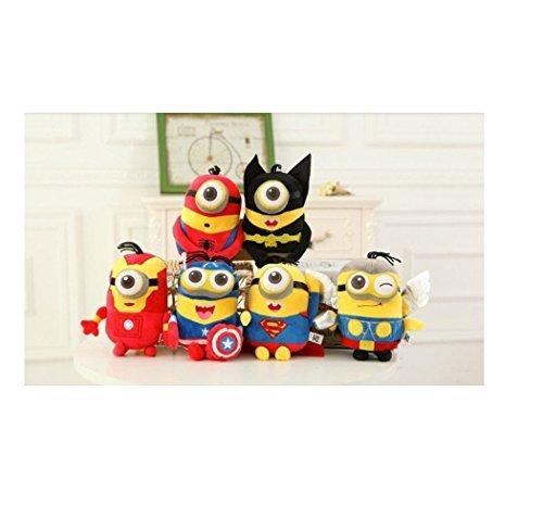 6pcs 8 Minions Plush Soft Toys Dolls Cosplay Superheros Superman Batman Ironman Spiderman Captain of America Thor