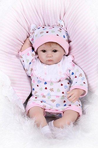 Npkdoll Reborn Baby Doll Soft Silicone 18inch 45cm Magnetic Lovely Lifelike Cute Boy Girl Toy White Bib Eyes Open